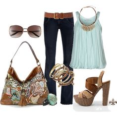 Turquoise Paisley, created by hatsgaloore on Polyvore