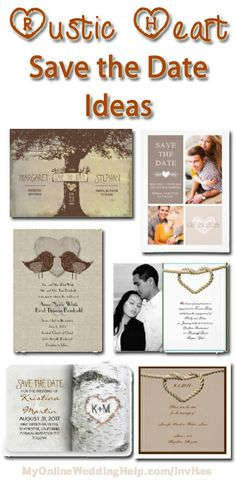 "Rustic and barn wedding idea: combine hearts with a ""country"" look for your save the dates or invitations. (these and other heart designs are on the page). #MyOnlineWeddingHelp"