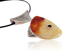 Silver art - 2 in 1 - pendant with amber + base - FISH
