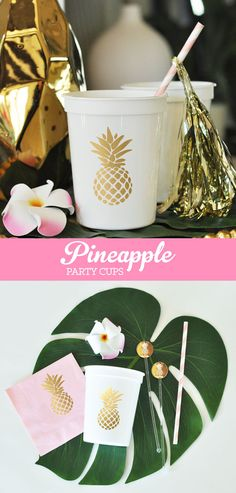 Pineapple Decor Cups printed with a metallic gold pineapple make pretty bridal shower decorations for your tropical themed wedding or shower. Also great