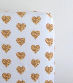 gold glitter hearts crib sheet – madly wish