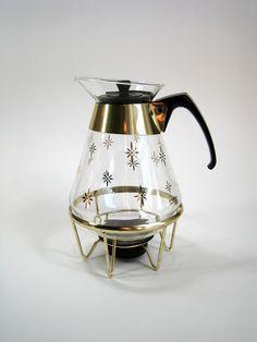 Vintage Pyrex | Vintage PYREX Starburst Glass Carafe with Warmer by AttysVintage
