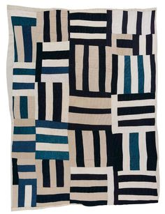 """Plummer Pettway 1918-1993 """"Roman Stripes, variation (local name: """"Crazy"""" Quilt) cotton twill, denim, cotton/ polyester blend, synthetic knit (pants matieral), 86 x 70 inches"""