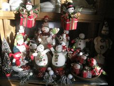 Snowmen make me smile and remind me of my childhood in Yakima Washington. We had snowmen all winter long. these guys are all for sale, various prices.