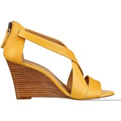Nine West Fichel Open Toe Wedge Sandals (€36) ❤ liked on Polyvore featuring shoes, sandals, yellow leather, leather strap sandals, strappy sandals, leather sandals, yellow wedge sandals and wedge heel sandals