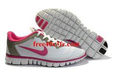 Acq7574 Nike Free 3.0 V2 Femme Chaussures De Course Blanc Rose