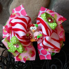 Sweet Strawberry Owl Boutique Hair Bow  by MegansHairCandy on Etsy, $12.50