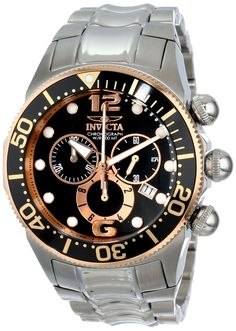 Invicta Men's 14202 Lupah Chronograph Black Dial Stainless Steel Watch. Swiss quartz movement. Mineral crystal; stainless steel case and bracelet. Chronograph functions with 60 second, 30 minute and 1/10th of a second subdials; date window at 4:00. Black dial with rose gold tone and white hands, hour markers and Arabic numerals; luminous; unidirectional 18k rose gold ion-plated stainless steel bezel with black top ring. Water resistant to 330 feet (100 M): suitable for snorkeling, as well…