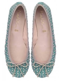 Pastel Blue and Beige Woven Leather Ballet Flat #Shoes