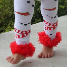 Christmas Snowman Leg Warmers...Baby, Infant, Toddler, Girl Leg Warmers...Christmas Leg Warmers with Ruffles...Photo Prop