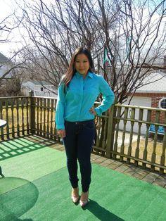wearing Vivienne Kelly earrings, Ann Taylor blouse, Vigoss jeans, & Prabal Gurung x Target heels