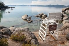 Beautiful landscape during winter time at the Lake Tahoe shore in California Stock Photo