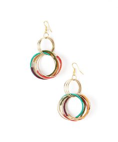 Take a look at this Red & Teal Concentric Hoop Drop Earrings on zulily today!