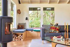 mid-century living room in Oregon cabin
