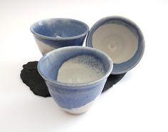 Ceramic tumbler beaker glazed in blue white -  handmade stoneware pottery £13.00