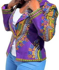 614d7190564 Womens Dashihiki Floral African Clothing One Button Open Blazer Jackets  Purple S