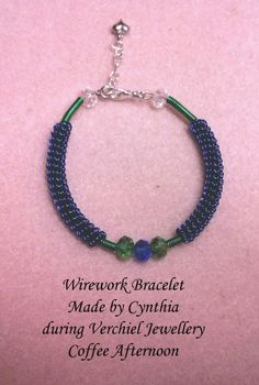 Wirework Bracelet made by Cynthia during Verchiel Jewellery coffee afternoon.