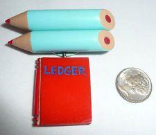 BAKELITE Two (2) PENCILS & LEDGER BOOK CHARM PIN MARTHA SLEEPER ? $299.99
