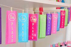 Gymnastics themed birthday party via Kara's Party Ideas KarasPartyIdeas.com Cake, decor, invitation, printables, cupcakes, and more! #gymnasticsparty #gymnastics (11)