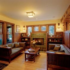 Interiors of Praire Style Homes Prairie Style House Interior Craftsman style interior Craftsman Style Interiors, Craftsman Living Rooms, Craftsman Fireplace, Bungalow Interiors, Craftsman Interior, Bungalow Homes, Craftsman Style Homes, Craftsman Bungalows, Gas Fireplace