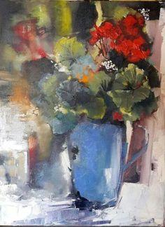 Isabel Naudé Painting Inspiration, Color Inspiration, Flower Art, Art Flowers, Palette Knife Painting, Geraniums, Art Google, Still Life, Art Drawings