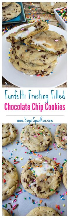 Funfetti frosting filled chocolate chip cookies, might just be the most fun cook. Funfetti frosting filled chocolate chip cookies, might just be the most fun cookies ever! --from SugarSpunRun Just Desserts, Delicious Desserts, Yummy Food, Tasty, Party Desserts, Baking Recipes, Cookie Recipes, Dessert Recipes, Chocolate Chip Cookies