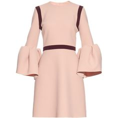 Roksanda Hadari bell-sleeved stretch-cady dress ($751) ❤ liked on Polyvore featuring dresses, vestidos, light pink, color block dress, colour block dress, flared sleeve dress, pink color block dress and embellished dress