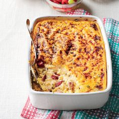 You can assemble this up to four days ahead, and keep in the fridge; then let it stand at room temp for 30 minutes before baking.