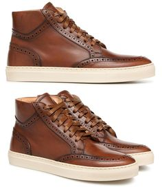 35f52b5227a Acheter Baskets montantes en cuir marron perforé – Chaussures Homme – MR SARENZA  Chaussure Marron