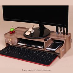 Wooden Monitor Stand Riser Computer Desk Organizer with Keyboard Mouse Storage Slots for Office Supplies School Computer Heighte desk Organization Computer Desk Organization, Wooden Desk Organizer, Do It Yourself Organization, Diy Computer Desk, Desk Storage, Home Office Organization, Diy Desk, Computer Laptop, Storage Boxes