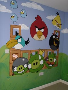 Sebastian's room? Angry Birds, Kid's Room Wall Mural www.custommurals.co.uk