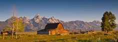 Landscape photo of a barn in Grand Teton National Park on Mormon Row.