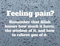Feeling pain? Remember that Allah knows how much it hurts, the wisdom of it, and how to relieve you of it.