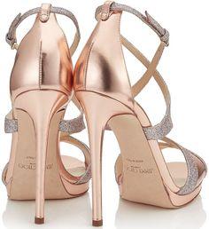 Jimmy Choo 'Marianne' Tea Rose Mirror Leather and Fine Glitter Sandals