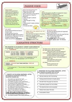 PASSIVE VOICE AND CAUSATIVE STRUCTURE