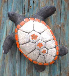 MANGO Orange Raku Hawaiian Sea Turtle Wall by OceanRakuPottery