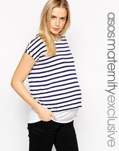 ASOS+Maternity+NURSING+Stripe+T-Shirt+With+Double+Layer