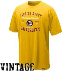 Nike Florida State Seminoles (FSU) Gold In-The-Books College Vault Organic Washed T-shirt