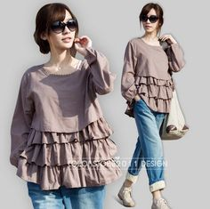 3 colors Spring  Round Collar Grid Blouse Causel von colorstore2011, $45.99