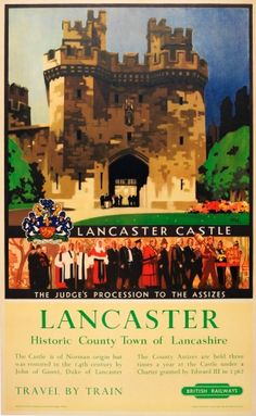 Lancaster Castle British Railways, 1950s - original vintage poster by Leslie Carr listed on AntikBar.co.uk