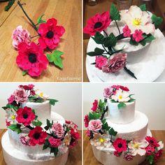 Fransk anemone  og rose blomsterranke - Fondant blomster til fødselsdagskage i 3 lag - Fondant flower to birthdaycake in 3 layer