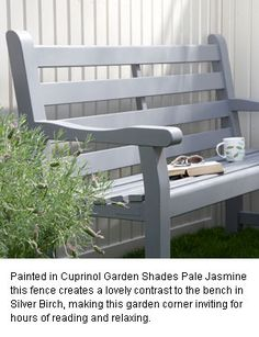 Look this awesome Garden bench Pergola Ideas 4831739568 Fence Paint Colours, Shed Colours, Grey Fence Paint, Blue Fence, Grey Fences, Garden Types, Painted Garden Furniture, Furniture Ideas, Furniture Design