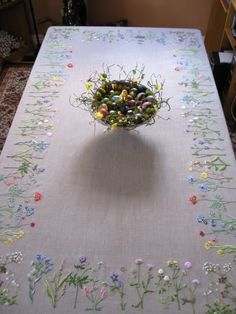 Large Linen Tablecloth with Embroidered Wildflowers Herb Embroidery, Hand Embroidery Videos, Embroidery Stitches Tutorial, Embroidery Flowers Pattern, Embroidery Monogram, Ribbon Embroidery, Folk Art Flowers, Border Embroidery Designs, Creations