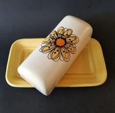 Stonehenge Midwinter Flowersong Butter Dish Yellow Flower Stoneware England #Stonehenge
