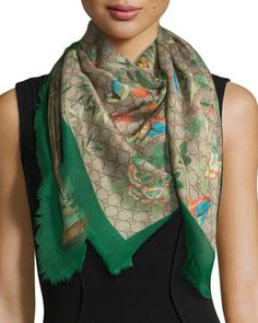 Tian+Foulard+Scarf,+Green/Brown++by+Gucci+at+Neiman+Marcus.