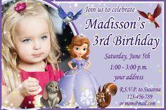 SALE Sophia the first Birthday Invitation, Sofia birthday invitation, Sofia the first birthday invitation - Digital file