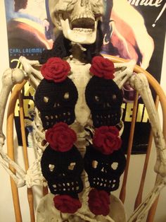 Black with Red Roses Cute Crochet Skull Scarf by WickedCrochet71, $37.00