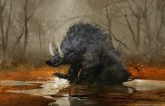Brent Hollowell ▶ Daily Spitpaint  wild boar- playing in a puddle