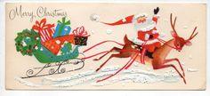 Vtg Hawthorne Christmas Greeting Card Santa Sitting On Reindeer, Sleigh Presents