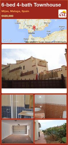 Townhouse for Sale in Mijas, Malaga, Spain with 6 bedrooms, 4 bathrooms - A Spanish Life Malaga Spain, Marble Floor, Murcia, Seville, Ground Floor, Beautiful Gardens, Townhouse, Bathroom, Bed
